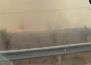 Поля с сухой травой горели возле поста ДПС в Благовещенске