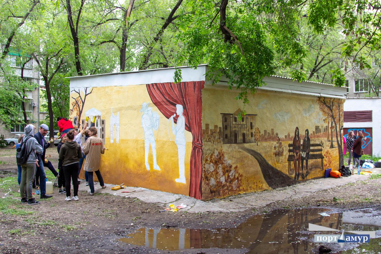Студенты разрисовали трансформаторную будку в Благовещенске