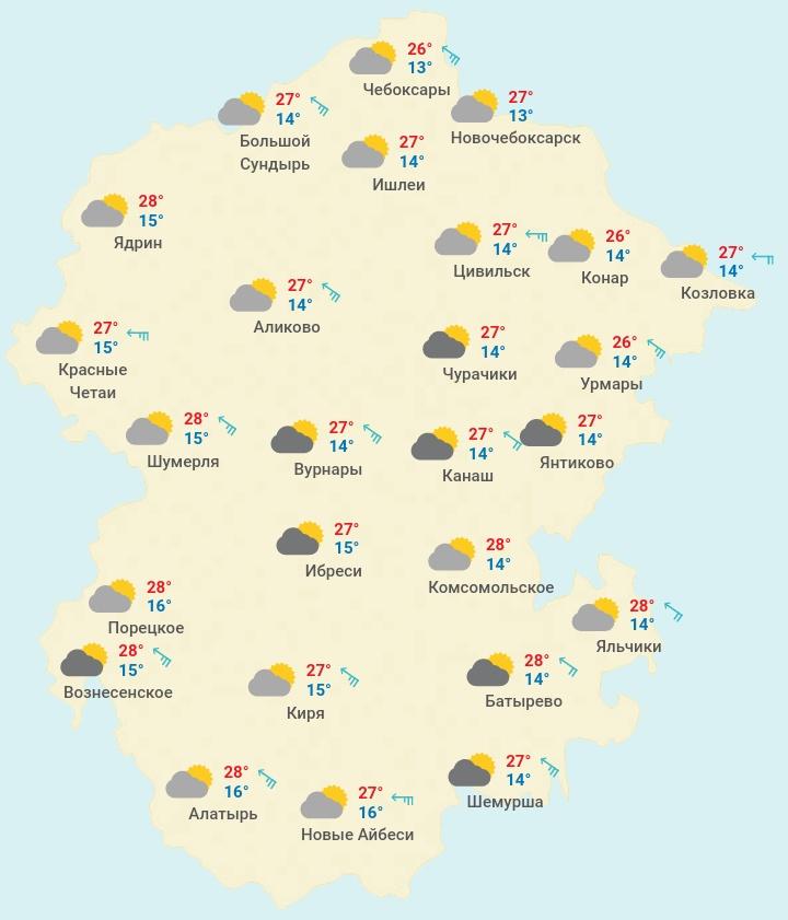 Какая погода ждет жителей Чувашии в выходной день