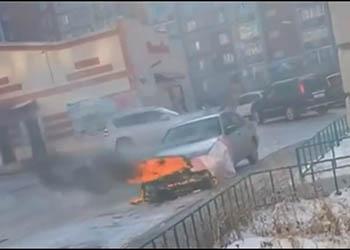 В Благовещенске загорелся автомобиль